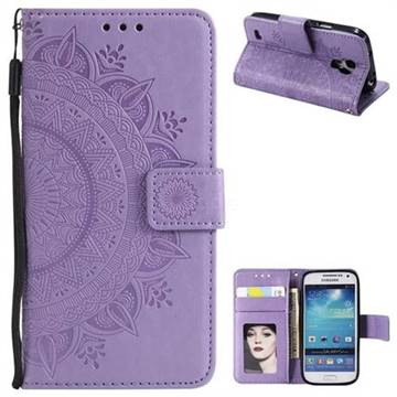 Intricate Embossing Datura Leather Wallet Case for Samsung Galaxy S4 Mini i9190 - Purple