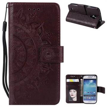 Intricate Embossing Datura Leather Wallet Case for Samsung Galaxy S4 Mini i9190 - Brown