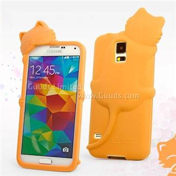 more photos ca04e 3ea39 Hello Deere Diffie Cat Silicone Case for Samsung Galaxy S5 G900 - Orange