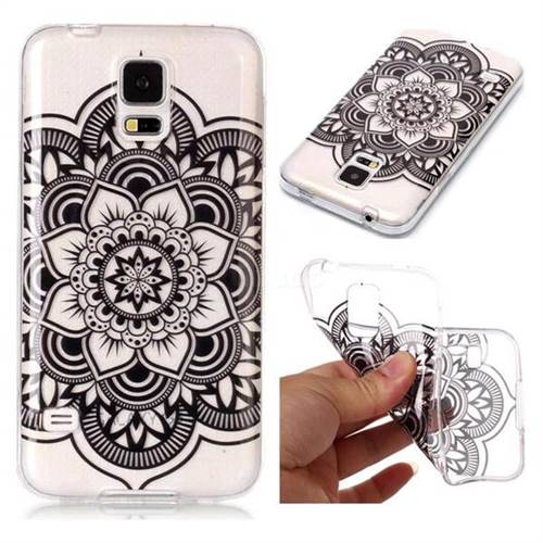 Black Mandala Flower Super Clear Soft TPU Back Cover for Samsung Galaxy S5 G900