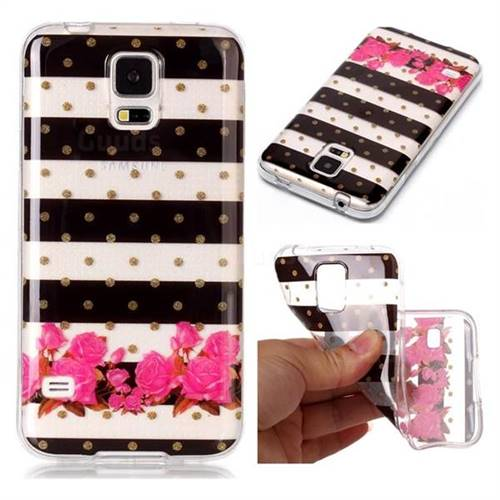 Striped Flowers Super Clear Soft TPU Back Cover for Samsung Galaxy S5 G900