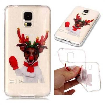 Red Gloves Elk Super Clear Soft TPU Back Cover for Samsung Galaxy S5 G900