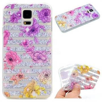 Striped Roses Super Clear Soft TPU Back Cover for Samsung Galaxy S5 G900