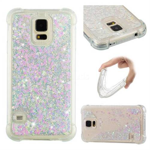 Dynamic Liquid Glitter Sand Quicksand Star TPU Case for Samsung Galaxy S5 G900 - Pink
