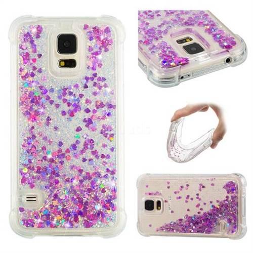 Dynamic Liquid Glitter Sand Quicksand Star TPU Case for Samsung Galaxy S5 G900 - Rose