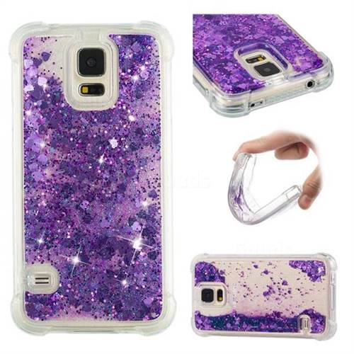 Dynamic Liquid Glitter Sand Quicksand Star TPU Case for Samsung Galaxy S5 G900 - Purple
