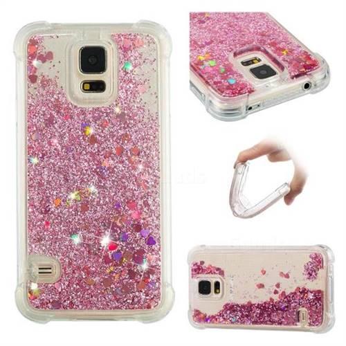 Dynamic Liquid Glitter Sand Quicksand Star TPU Case for Samsung Galaxy S5 G900 - Diamond Rose