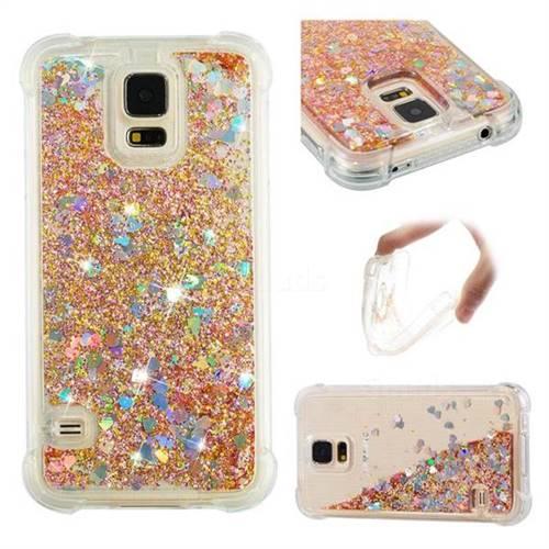 Dynamic Liquid Glitter Sand Quicksand Star TPU Case for Samsung Galaxy S5 G900 - Diamond Gold