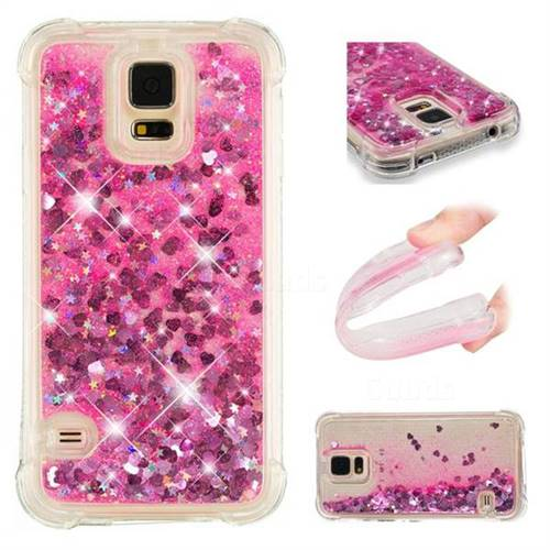 Dynamic Liquid Glitter Sand Quicksand TPU Case for Samsung Galaxy S5 G900 - Pink Love Heart