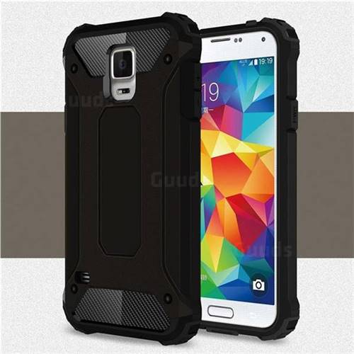 King Kong Armor Premium Shockproof Dual Layer Rugged Hard Cover for Samsung Galaxy S5 G900 - Black Gold