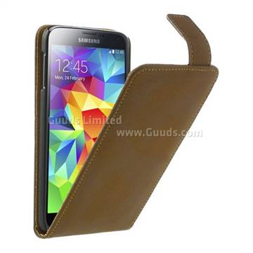 save off 95f1e a7cd9 Retro Vertical Leather Flip Case for Samsung Galaxy S5 G900 - Brown -  Leather Case - Guuds