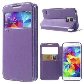 Roar Korea Noble View Window Leather Case for Samsung Galaxy S5 G900 - Purple