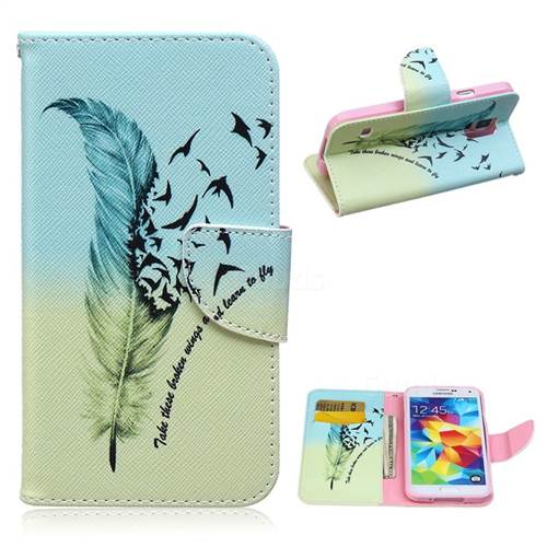 Feather Bird Leather Wallet Case for Samsung Galaxy S5 G900