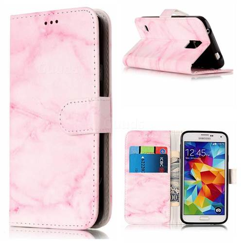 Pink Marble PU Leather Wallet Case for Samsung Galaxy S5