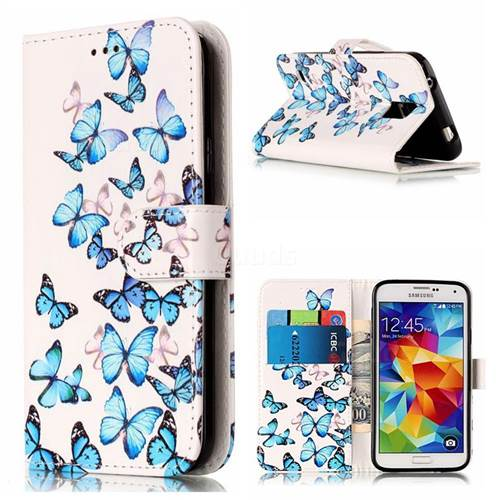 Blue Vivid Butterflies PU Leather Wallet Case for Samsung Galaxy S5
