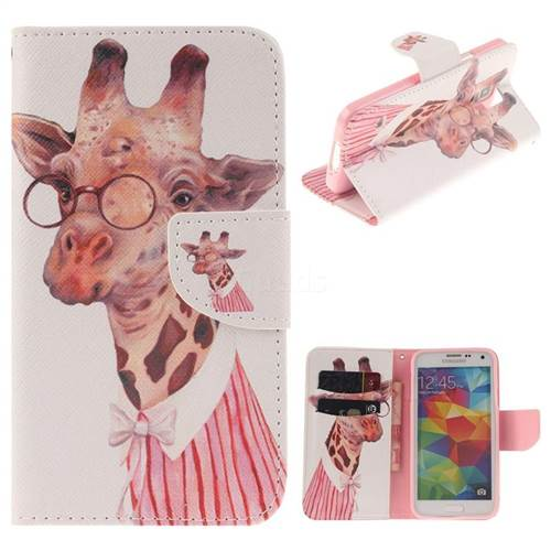 Pink Giraffe PU Leather Wallet Case for Samsung Galaxy S5 G900