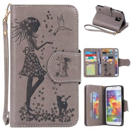 Embossing Cat Girl 9 Card Leather Wallet Case for Samsung Galaxy S5 G900 - Gray