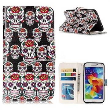Flower Skull 3D Relief Oil PU Leather Wallet Case for Samsung Galaxy S5 G900