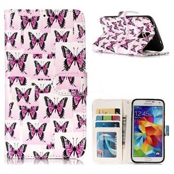 Butterflies Stickers 3D Relief Oil PU Leather Wallet Case for Samsung Galaxy S5 G900