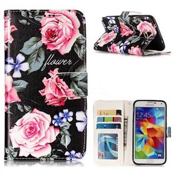 Peony 3D Relief Oil PU Leather Wallet Case for Samsung Galaxy S5 G900