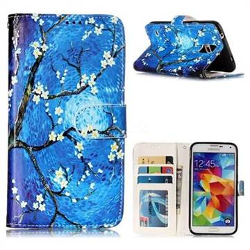Plum Blossom 3D Relief Oil PU Leather Wallet Case for Samsung Galaxy S5 G900