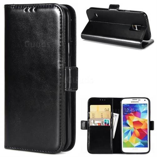 Luxury Crazy Horse PU Leather Wallet Case for Samsung Galaxy S5 G900 - Black