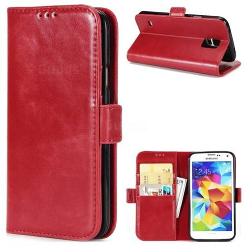 Luxury Crazy Horse PU Leather Wallet Case for Samsung Galaxy S5 G900 - Red