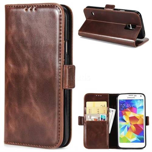 Luxury Crazy Horse PU Leather Wallet Case for Samsung Galaxy S5 G900 - Coffee