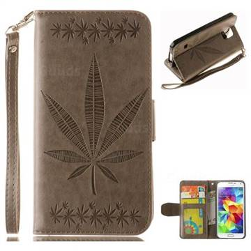 Intricate Embossing Maple Leather Wallet Case for Samsung Galaxy S5 G900 - Gray