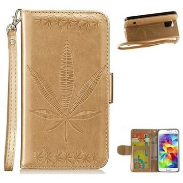 Intricate Embossing Maple Leather Wallet Case for Samsung Galaxy S5 G900 - Champagne