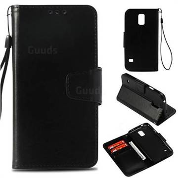 Retro Phantom Smooth PU Leather Wallet Holster Case for Samsung Galaxy S5 G900 - Black