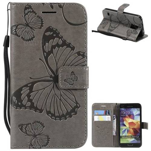 Embossing 3D Butterfly Leather Wallet Case for Samsung Galaxy S5 G900 - Gray