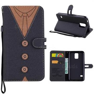 Mens Button Clothing Style Leather Wallet Phone Case for Samsung Galaxy S5 G900 - Black