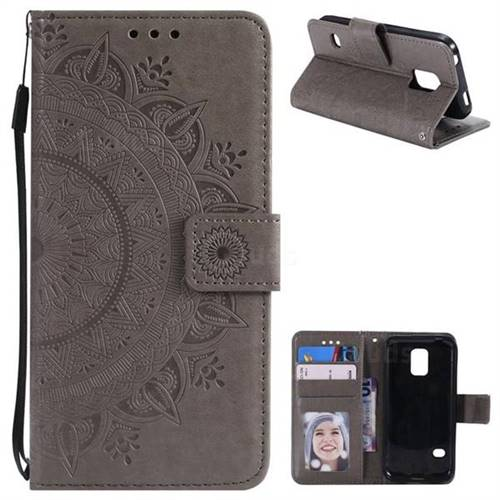 Intricate Embossing Datura Leather Wallet Case for Samsung Galaxy S5 G900 - Gray