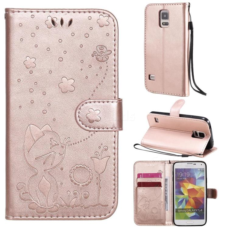 Embossing Bee and Cat Leather Wallet Case for Samsung Galaxy S5 G900 - Rose Gold