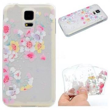 Peach Super Clear Soft TPU Back Cover for Samsung Galaxy S5 Mini G800