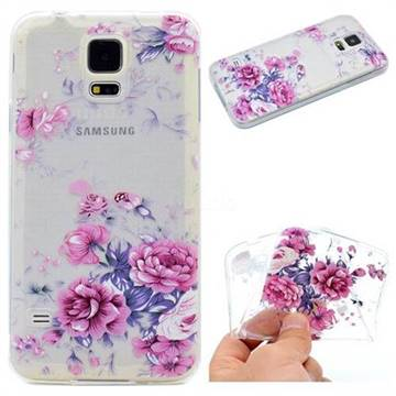 Peony Super Clear Soft TPU Back Cover for Samsung Galaxy S5 Mini G800