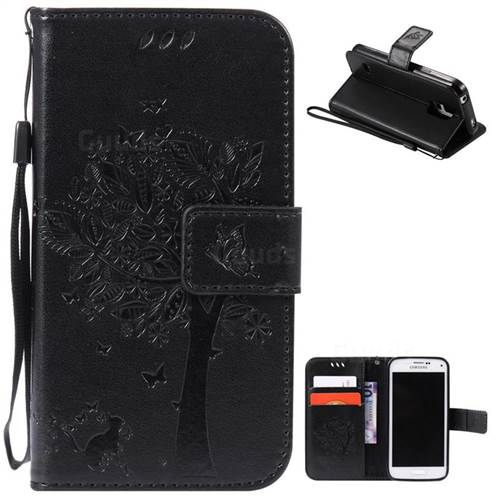 Embossing Butterfly Tree Leather Wallet Case for Samsung Galaxy S5 Mini - Black