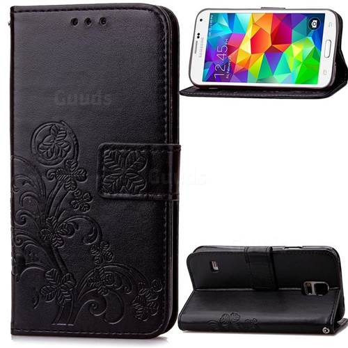 Embossing Imprint Four-Leaf Clover Leather Wallet Case for Samsung Galaxy S5 Mini - Black