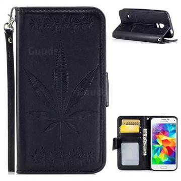 Intricate Embossing Maple Leather Wallet Case for Samsung Galaxy S5 Mini G800 - Black
