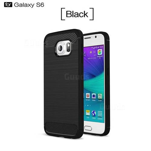 Luxury Carbon Fiber Brushed Wire Drawing Silicone TPU Back Cover for Samsung Galaxy S6 G920 (Black)