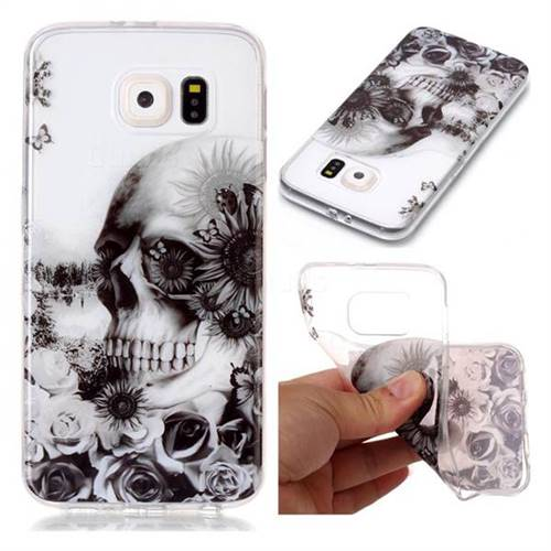 Black Flower Skull Super Clear Soft TPU Back Cover for Samsung Galaxy S6 G920