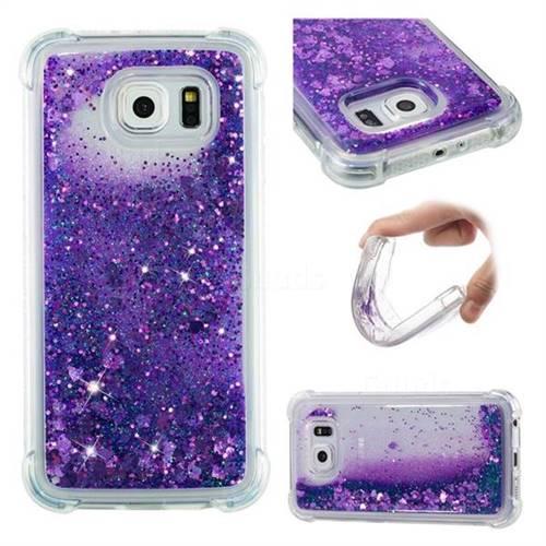 Dynamic Liquid Glitter Sand Quicksand Star TPU Case for Samsung Galaxy S6 G920 - Purple