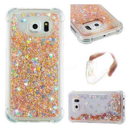 Dynamic Liquid Glitter Sand Quicksand Star TPU Case for Samsung Galaxy S6 G920 - Diamond Gold