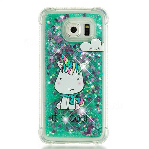 finest selection f5987 6d088 Tiny Unicorn Dynamic Liquid Glitter Sand Quicksand Star TPU Case for  Samsung Galaxy S6 G920