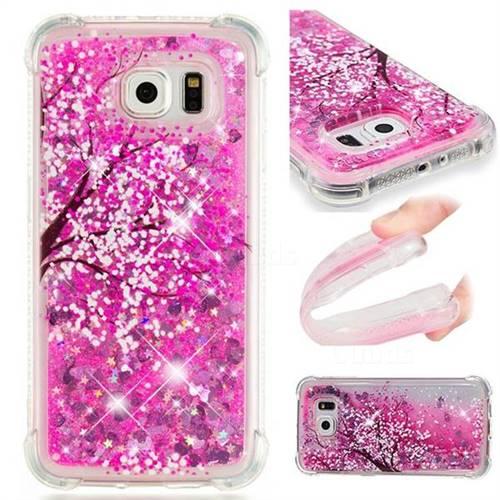 Pink Cherry Blossom Dynamic Liquid Glitter Sand Quicksand Star TPU Case for Samsung Galaxy S6 G920