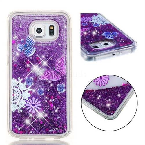 newest collection 996f3 2baae Purple Flower Butterfly Dynamic Liquid Glitter Quicksand Soft TPU Case for  Samsung Galaxy S6 G920