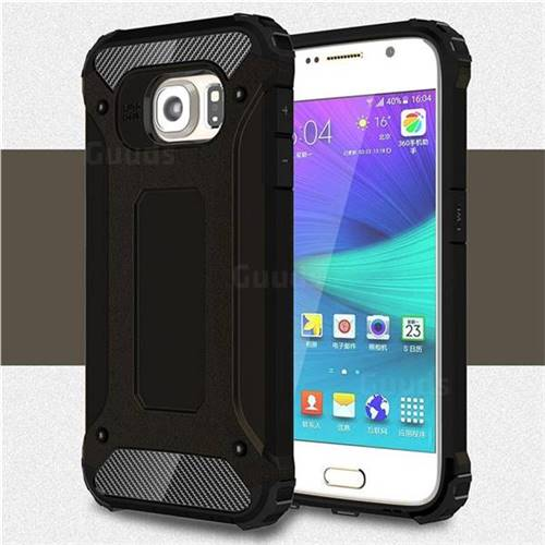King Kong Armor Premium Shockproof Dual Layer Rugged Hard Cover for Samsung Galaxy S6 G920 - Black Gold