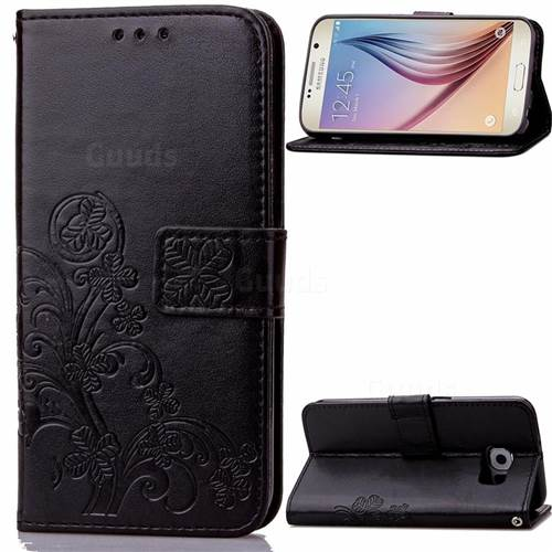 Embossing Imprint Four-Leaf Clover Leather Wallet Case for Samsung Galaxy S6 - Black