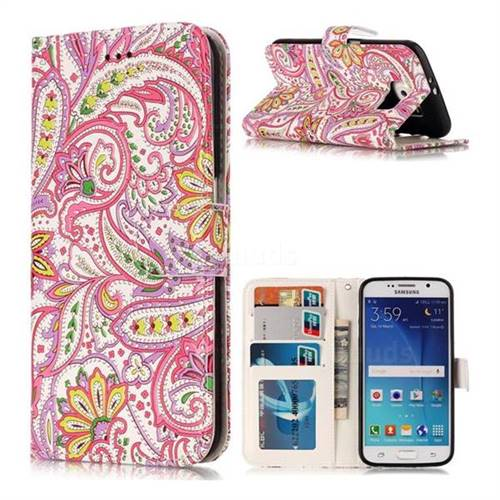 Pepper Flowers 3D Relief Oil PU Leather Wallet Case for Samsung Galaxy S6 G920